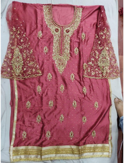 Bareilly Zardozi Designer Golden Zari Work On Suit for Women