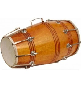 Wooden Handmade Light Brown Colour Musical Instrument Dholak