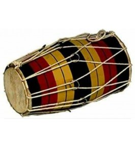 Wooden Handmade Multicolour Musical Instrument Dholak