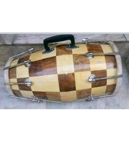 Wooden Handmade Brown Check Colour Musical Instrument Dholak