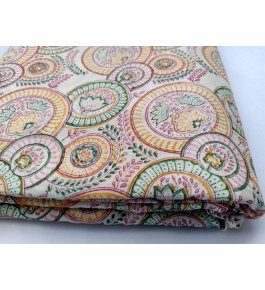 Delightful Sanganeri Hand Block Print Multicolour Circle Floral Pattern Single Bedsheet