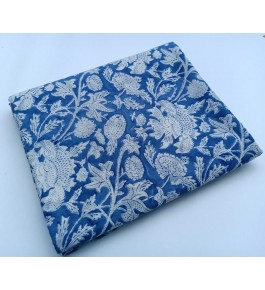 Delightful Sanganeri Hand Block Print Sky Blue Colour Floral Pattern Single Bedsheet