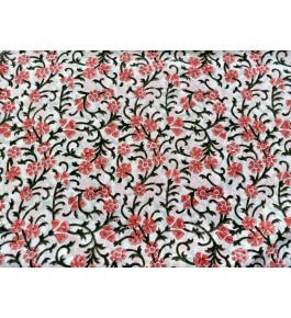 Delightful Sanganeri Hand Block Print Multicolour Floral Pattern Single Bedsheet