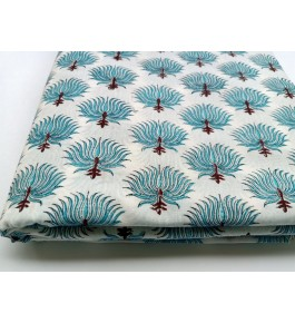 Delightful Sanganeri Hand Block Print Offwhite & Sky Blue Colour Floral Pattern Single Bedsheet