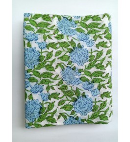Delightful Sanganeri Hand Block Print Offwhite, Blue & Green Colour Floral Pattern Single Bedsheet