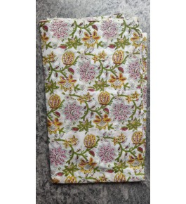 Delightful Sanganeri Hand Block Print Offwhite Colour Flower Pattern Single Bedsheet