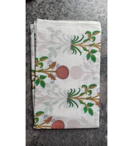 Delightful Sanganeri Hand Block Print White Colour Flower Pattern Single Bedsheet