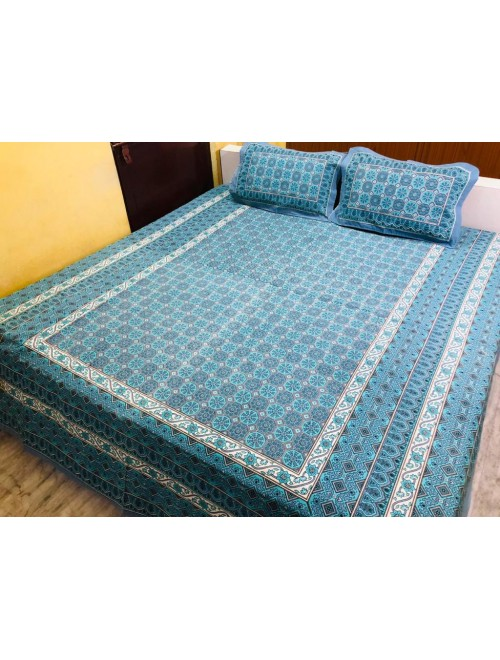 Sanganeri Cotton Hand Block Blue Colour Floral Printed Double Bedsheet With Two Stitched Pillows Covers