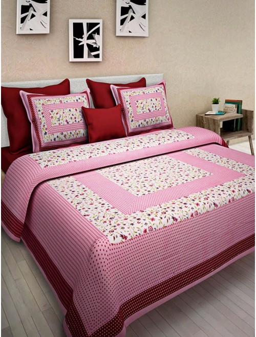 Sanganeri Cotton Hand Block Printed Baby Pink Colour Double Bedsheet With Two Stitched Pillows Covers