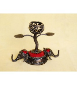 Handmade Bastar Iron Craft Beautiful Elephant Designed Candle Holder