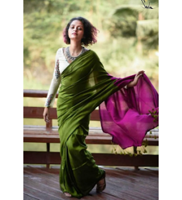 Delightful Handloom Santipur Khadi Fish Motif Cotton Saree In Green Colour For Women