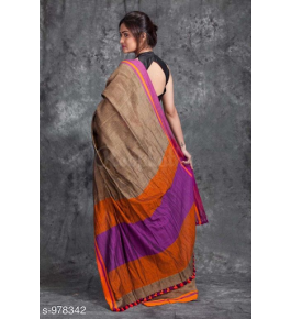 Delightful Handloom Santipur Khadi Fish Motif Cotton Saree In Light Brown Colour For Women
