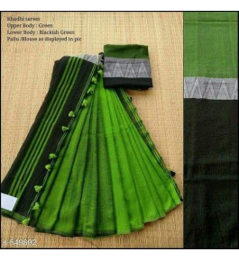 Prettify Handloom Santipur Khadi Cotton Saree In Green Colour For Women