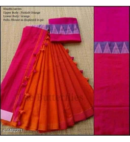 Prettify Handloom Santipur Khadi Cotton Saree In Orange Colour For Women