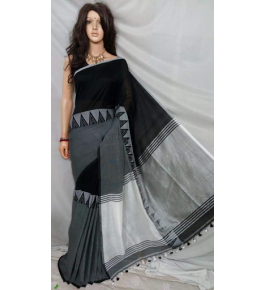 Prettify Handloom Santipur Khadi Cotton Saree In Black Colour For Women