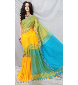 Prettify Handloom Santipur Khadi Cotton Saree In Yellow And Green Colour For Women
