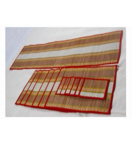 Alluring Handmade Natural Fibre Madurkathi Table Mat With Runner Set Of 6