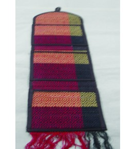 Alluring Handmade Natural Fibre Multicolour Madurkathi Magazine Holder Mat For Wall Decoration