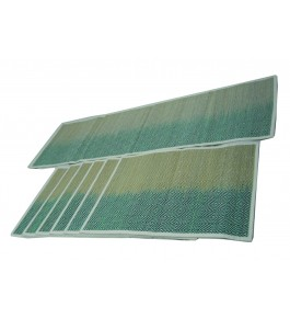 Alluring Handmade Natural Fibre Sky Blue Colour Madurkathi Table Mat With Runner Set Of 6