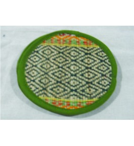Alluring Handmade Natural Fibre Madurkathi Green Colour Tea Coaster Set Of 6