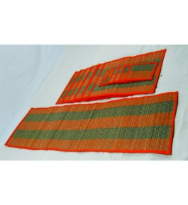 Alluring Handmade Natural Fibre Green & Orange Colour Madurkathi Table Mat With Runner Set Of 6
