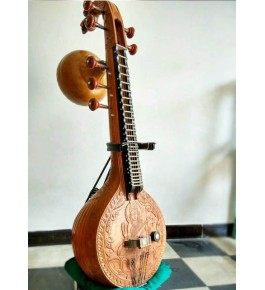 Delightful Handmade Thanjavur Veena For Classical Music Lovers In Light Brown Colour
