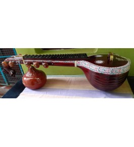 Traditional Handmade Joint Thanjavur Veena Polish With Rose Wood Colour For Classical Music Lovers