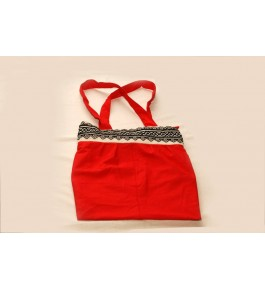 Unique Hand Woven Toda Embroidery Colleg Bag Red Colour  for Women
