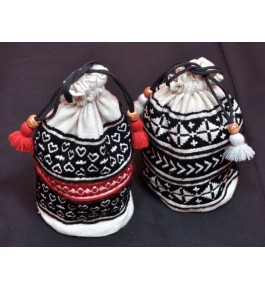 Unique Hand Woven Toda Embroidery Potley Bag for Women (Set of 2)