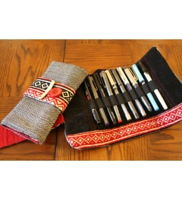 Unique Hand Woven Toda Embroidery Rollup Stationary Pen Holder Bag