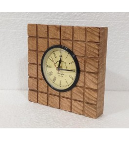 Traditional Handmade Saharanpur Wooden Craft Beautiful Antique Wall Clock In Square Shape