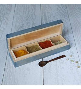 Traditional Handicraft Saharanpur Craft Wooden Spices Box With 4 Racks Used In Kitchen Purpose