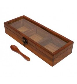 Traditional Handicraft Saharanpur Craft Wooden Spices Box With 3 Racks