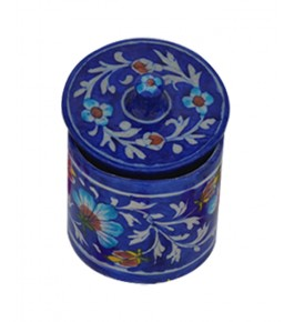 Handmade Blue Color Ceramic Jar With Flower Design Blue Pottery Of Jaipur