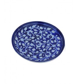 Handmade Blue Colour Plate With Flower Design Blue Pottery Of Jaipur