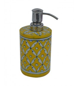 Handmade Yellow Colour Soap Dispenser Blue Pottery Of Jaipur