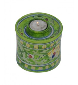 Beautiful Handmade Green Colour Chimney Lamp With Flower Design Blue Pottery Of Jaipur