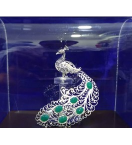 Traditional Handicraft Silver Filigree Design Of Raj Peacock For Decoration Purpose