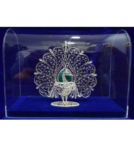 Traditional Handicraft Silver Filigree Design Of Mayur For Decoration Purpose