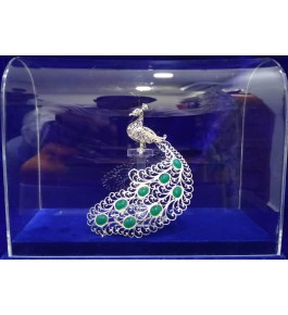Traditional Handicraft Silver Filigree Design Of Beautiful Raj Peacock For Decoration Purpose