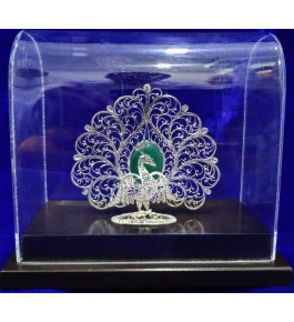 Traditional Handicraft Silver Filigree Design Elegant Mayur For Decoration Purpose