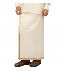 Soft Salem Silk Men's Dhoti with 15 mm Golden Zari Work