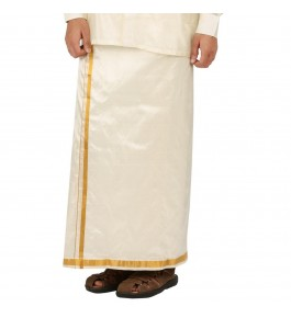 Soft Salem Silk Men's Dhoti with 20 mm Golden Zari Work