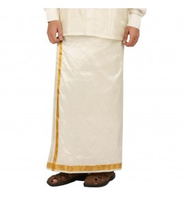 Soft Salem Silk Men's Dhoti with 31 mm Golden Zari Work