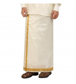 Soft Salem Silk Men's Dhoti with 37 mm Golden Zari Work