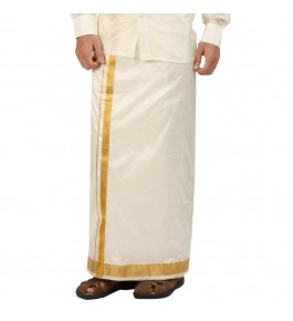 Soft Salem Silk Men's Dhoti with 42 mm Golden Zari Work