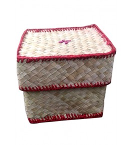 Traditional Handcrafted Screw Pine Leaf Square Box multipurpose
