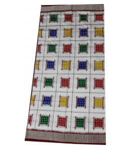 Traditional Handwoven Light Grey Checked With Different Colours  Sambalpuri Sarees for women