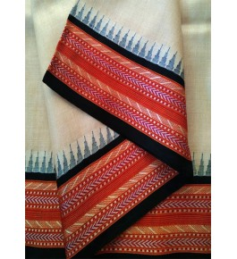 Beautiful Handloom Karvath Kati Saree for Women with Red Border