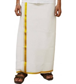 Chendamangalam Golden Zari Dhoti By Kuriappilly Handloom Weavres